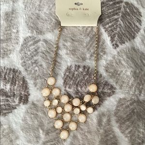 Gold and glittery peach necklace